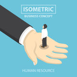 Businessman standing on the big hand. Flat 3d web isometric design, VECTOR, EPS10 Royalty Free Stock Photography