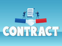 Businessman standing on big handshake and big word Contract. Business agreement concept. Stock Photos
