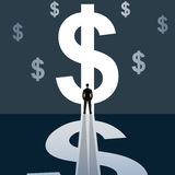 Businessman standing in bright dollar sign Stock Photography
