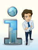 A businessman standing beside the buildings inside the number on Stock Photos