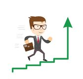 Businessman standing on chart going up. Concept of business success. Royalty Free Stock Photo