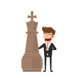 Businessman standing with chess piece and showing thumb up sign. Business fighting, strategy, competition, Leadership, concept. Cartoon Vector Illustration Stock Photos