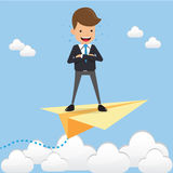 Businessman Standing Chest Hug on Paper Plan on the Sky. Concept Business Vector Illustration Flat Style. Stock Images