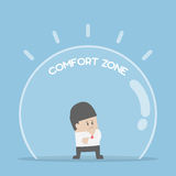 Businessman standing in comfort zone. Fear of change and comfort zone concept stock illustration