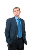 Businessman standing confidently on white Royalty Free Stock Images