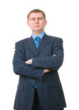 Businessman standing confidently on white Stock Photos