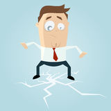 Businessman standing on cracking ice. Illustration of a businessman standing on cracking ice Royalty Free Stock Photos