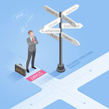 Businessman standing  at a crossroad and looking directional signs. Business people concepts. Businessman standing at a crossroad and looking directional signs Royalty Free Stock Photos