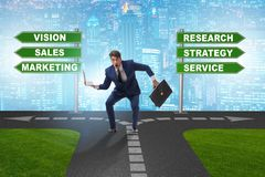 The businessman standing at crossroads of corporate strategy royalty free stock photos