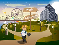 Businessman Standing at the Crossroads. Vector illustration Royalty Free Stock Photos