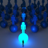 Businessman standing at 3d light growing human. Social network and leadership as concept Stock Photo