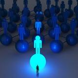 Businessman standing at 3d light growing human Stock Photo