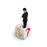 Businessman standing on dice of dollar sign Stock Photography