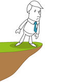Businessman standing on the edge of a precipice. Vector illustration of a monochrome cartoon character: Businessman standing on the edge of a precipice carefully Royalty Free Stock Images