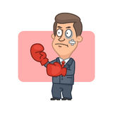 Businessman standing fighter in boxing gloves Stock Image