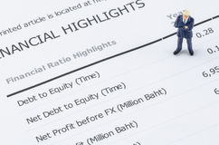 Businessman standing on the financial highlight in ann Royalty Free Stock Photo