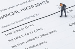 Businessman standing on the financial highlight in ann Stock Images