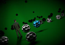 Businessman standing footballl soccer 3d Royalty Free Stock Photography