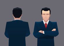 Businessman standing front and back view Royalty Free Stock Image