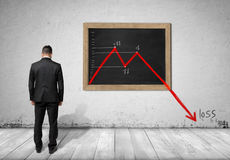 Businessman standing in front of blackboard with falling diagram Royalty Free Stock Images
