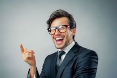 Businessman pointing finger royalty free stock photos