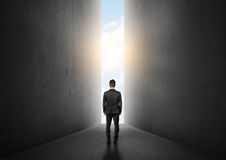 Businessman standing in front of bright big shining door. Royalty Free Stock Images