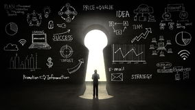 Businessman Standing in front of Keyhole, Business plan and various graph in black wall.