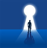 Businessman standing in front of keyhole royalty free illustration