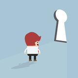 Businessman standing in front of keyhole stock illustration