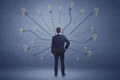 Businessman standing in front lines and question mark signs conc Royalty Free Stock Photo