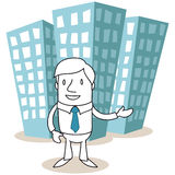 Businessman standing in front of office buildings. Vector illustration of a monochrome cartoon character: Businessman standing in front of office buildings with Royalty Free Stock Photography