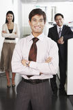 Businessman Standing In Front Of Team royalty free stock photos