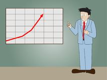Businessman standing presentation progressive arrow chart. Stock Photo