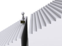 Businessman standing before gap of stairs stock illustration