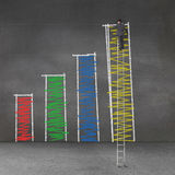 Businessman standing on a giant ladder and drawing bar chart Stock Photography
