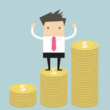 Businessman standing on gold coin. Vector Royalty Free Stock Photography