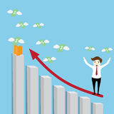 Businessman. Standing on a growing graph Royalty Free Stock Images
