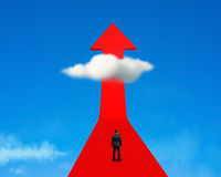 Businessman standing on growing red arrow with cloud and sky Royalty Free Stock Photography