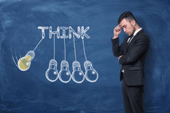 Businessman standing with hand on his forehead near word `think` Stock Photos