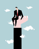 Businessman standing on hand. Rise of man. Help from boss. Prot stock illustration