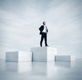Businessman standing on a highest cube. 3d royalty free stock image