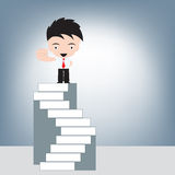 Businessman standing on highest stairs, illustration vector in flat design Stock Image