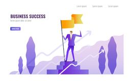Businessman standing and holding flag on the podium. Business Successful and  Leadership  concept. vector illustration Stock Images