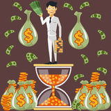 Businessman standing on the hourglass Royalty Free Stock Images