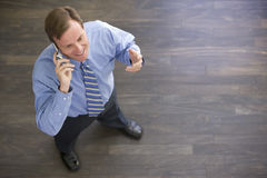 Businessman standing indoors using cellular phone Stock Image