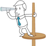 Businessman standing on a lookout post. Vector illustration of a monochrome cartoon character: Businessman standing on a lookout post (closeup Royalty Free Stock Images
