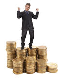 Businessman standing on money Royalty Free Stock Photography