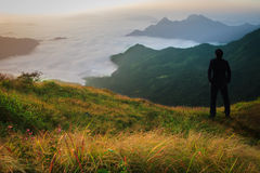 Businessman standing at the mountains Royalty Free Stock Photo