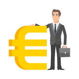 Businessman standing near with euro sign Royalty Free Stock Photos