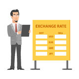 Businessman standing near exchange and holds tablet. Illustration, businessman standing near exchange and holds tablet, format EPS 10 Stock Images